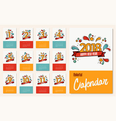 New year 2018 colorful calendar template set vector