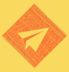 Paper airplane sign red scribble icon vector