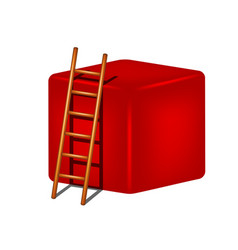 red cube and wooden ladder vector image