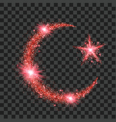 Red particles wave in form of crescent and star vector