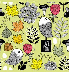 romantic autumn pattern with doodle birds and tree vector image vector image