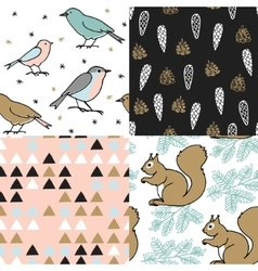 Set of christmas seamless patterns cute festive vector