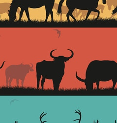 Set of with horses bulls and deer vector