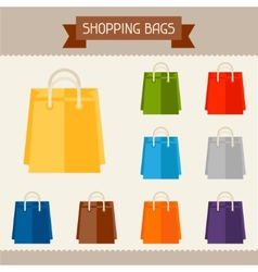 Shopping bags colored templates for your design in vector image