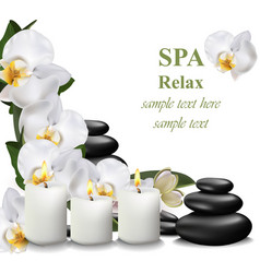 spa relax card candles and stones vector image