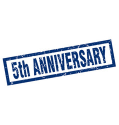 Square grunge blue 5th anniversary stamp vector