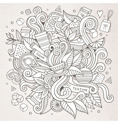 Tea hand lettering and doodles elements background vector image vector image
