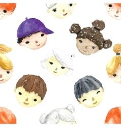 Watercolor children faces vector