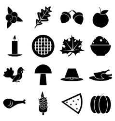 Thanksgiving Day Autumn icons set simple style vector image