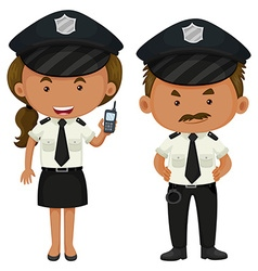 Two police officers in black and white uniform vector