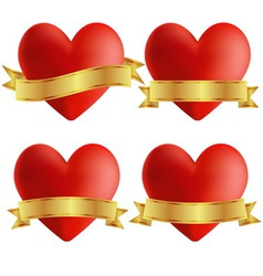 Set of heart icons with badges vector