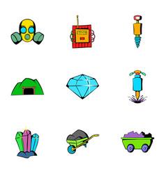 Mine equipment icons set cartoon style vector