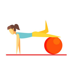 young slim brunette woman exercising with an vector image