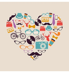 Colorful vintage hipsters love elements vector