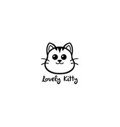 Lovely kitty cute cat black and white line logo vector