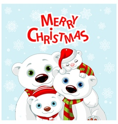 1Christmas bear family greeting card vector image vector image