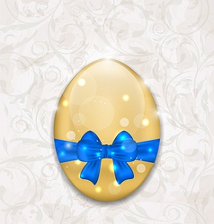 Easter glossy egg wrapping blue bow vector