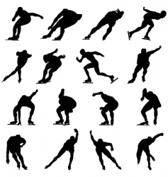 Skating man silhouette set vector