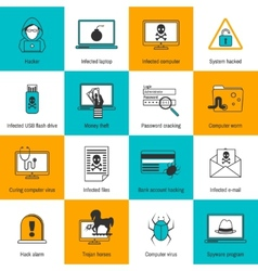 Hacker icons flat line vector
