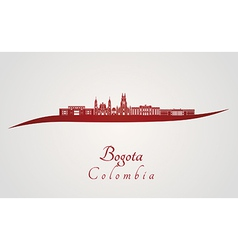 Bogota skyline in red vector