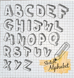 Hand drawn 3d sketch alphabet vector