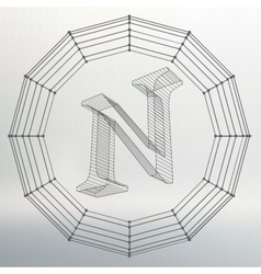 Letter n fonts of mesh vector