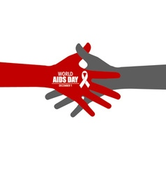 Stop aids hand with ribbon vector