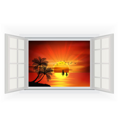 Open window on a beach background when sunset vector