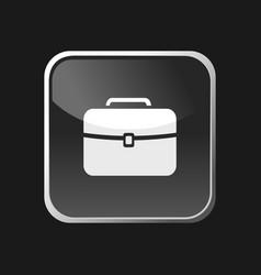 briefcase icon on square web button and black vector image