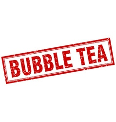 Bubble tea red grunge square stamp on white vector