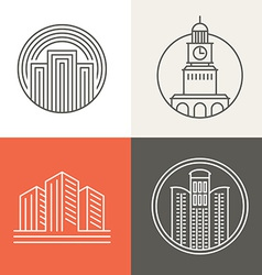 Buildings and houses logos vector