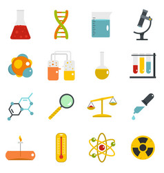 Chemical laboratory icons set in flat style vector