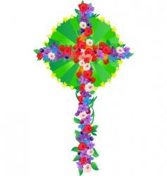 flowers cross vector image vector image