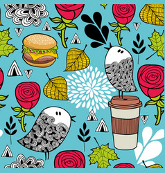 food and birds romantic pattern vector image vector image