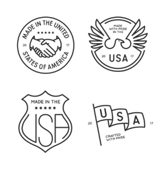 Made in usa labels badges stamps set vector