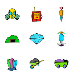 Mine equipment icons set cartoon style vector