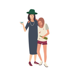 Pair of drunk girls dressed in messy clothes vector