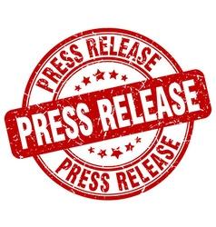 Press release red grunge round vintage rubber vector