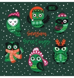 Season greetings card with owls vector