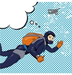 Skydiving woman retro pop vector