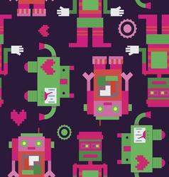 Three robots seamless pattern vector image vector image