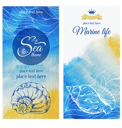 Watercolor sea banners vector