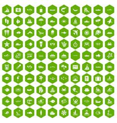 100 ocean icons hexagon green vector