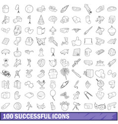 100 successful icons set outline style vector
