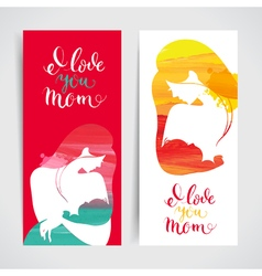 Set banners of mother silhouette with her baby vector image