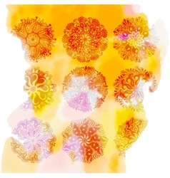 yellow watercolor splash background with 9 rangoli vector image