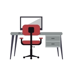 workplace modern pc pink armchair desk vector image