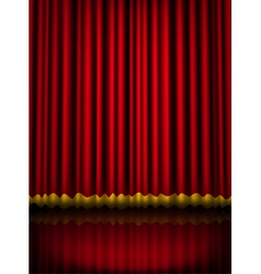 Red velvet theater stage curtain with golden vector