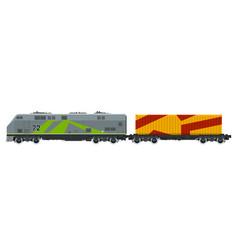 Locomotive with orange cargo container isolated vector