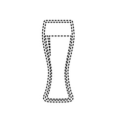 Beer glass sign  black dashed icon on vector
